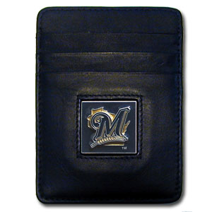 Milwaukee Brewers Leather Money Clip (F)