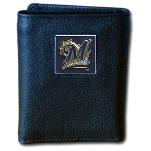 Milwaukee Brewers Leather Trifold Wallet (F)