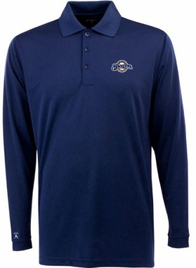 Milwaukee Brewers Mens Long Sleeve Polo Shirt (Color: Navy)