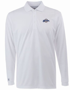 Milwaukee Brewers Mens Long Sleeve Polo Shirt (Color: White)