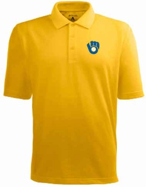 Milwaukee Brewers Mens Pique Xtra Lite Polo Shirt (Cooperstown) (Team Color: Gold)