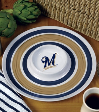 Milwaukee Brewers Plastic Chip and Dip Plate