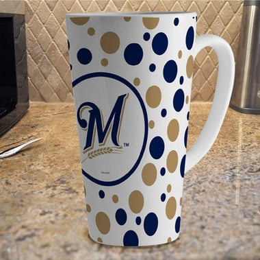 Milwaukee Brewers Polkadot 16 oz. Ceramic Latte Mug