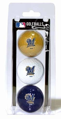 Milwaukee Brewers Set of 3 Multicolor Golf Balls