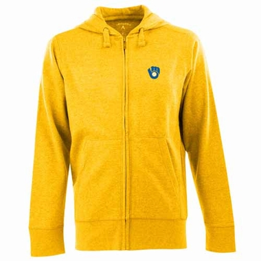 Milwaukee Brewers Mens Signature Full Zip Hooded Sweatshirt (Cooperstown) (Team Color: Gold)