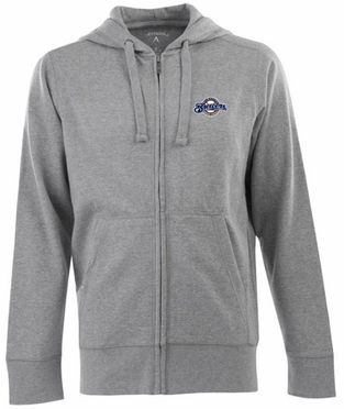 Milwaukee Brewers Mens Signature Full Zip Hooded Sweatshirt (Color: Gray)