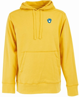 Milwaukee Brewers Mens Signature Hooded Sweatshirt (Cooperstown) (Team Color: Gold)