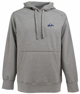 Milwaukee Brewers Mens Signature Hooded Sweatshirt (Color: Gray)