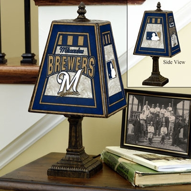 Milwaukee Brewers Small Art Glass Lamp