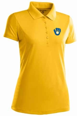 Milwaukee Brewers Womens Pique Xtra Lite Polo Shirt (Cooperstown) (Team Color: Gold)