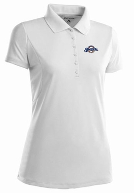 Milwaukee Brewers Womens Pique Xtra Lite Polo Shirt (Color: White)