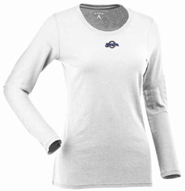 Milwaukee Brewers Womens Relax Long Sleeve Tee (Color: White)
