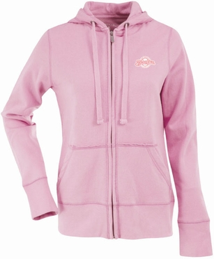 Milwaukee Brewers Womens Zip Front Hoody Sweatshirt (Color: Pink)