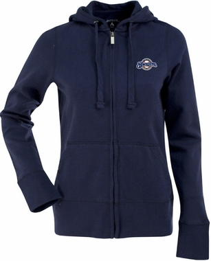 Milwaukee Brewers Womens Zip Front Hoody Sweatshirt (Team Color: Navy)