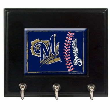 Milwaukee Brewers Wooden Keyhook Rack