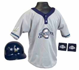 Milwaukee Brewers Baseball Helmet and Jersey Set