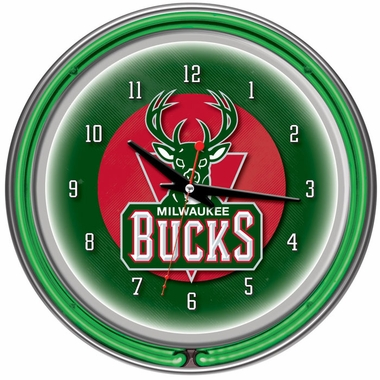 Milwaukee Bucks 14 Inch Neon Clock