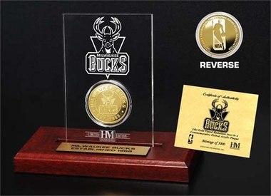 Milwaukee Bucks Milwaukee Bucks 24KT Gold Coin Etched Acrylic