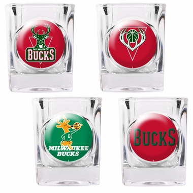 Milwaukee Bucks 4 Piece Assorted Shot Glass Set
