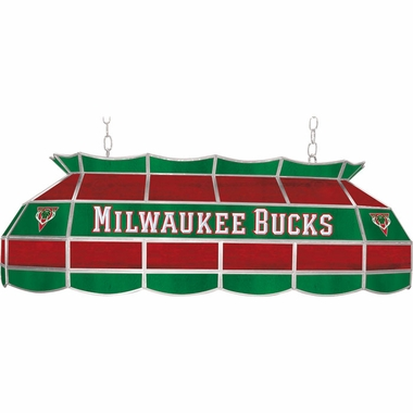 Milwaukee Bucks 40 Inch Rectangular Stained Glass Billiard Light