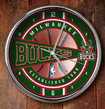 Milwaukee Bucks Chrome Clock
