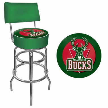 Milwaukee Bucks Padded Bar Stool with Back