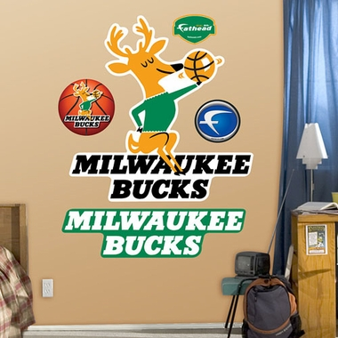 Milwaukee Bucks Throwback Logo Fathead Wall Graphic