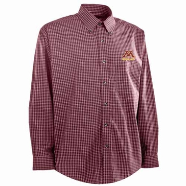 Minnesota Mens Esteem Check Pattern Button Down Dress Shirt (Team Color: Maroon)