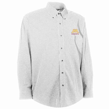 Minnesota Mens Esteem Check Pattern Button Down Dress Shirt (Color: White)