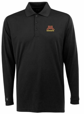 Minnesota Mens Long Sleeve Polo Shirt (Color: Black)