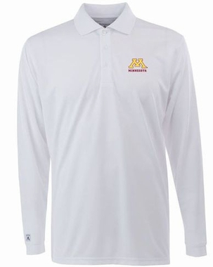 Minnesota Mens Long Sleeve Polo Shirt (Color: White)