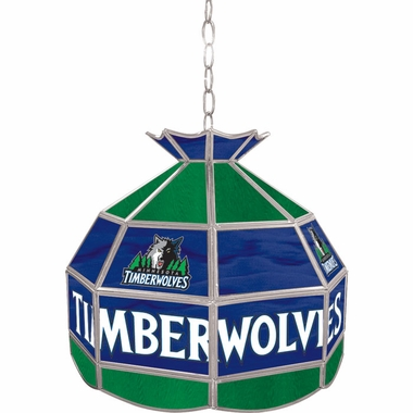 Minnesota Timberwolves 16 Inch Diameter Stained Glass Pub Light