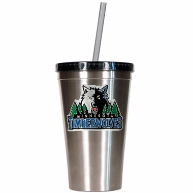 Minnesota Timberwolves 16oz Stainless Steel Insulated Tumbler with Straw