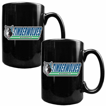 Minnesota Timberwolves 2 Piece Coffee Mug Set (Wordmark)
