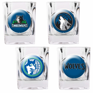 Minnesota Timberwolves 4 Piece Assorted Shot Glass Set