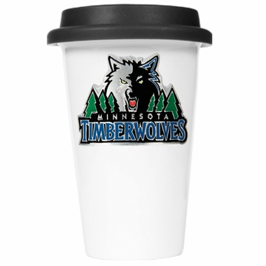 Minnesota Timberwolves Ceramic Travel Cup (Black Lid)