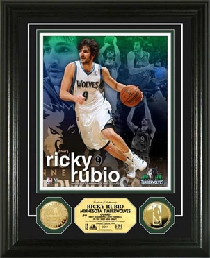 Minnesota Timberwolves Ricky Rubio Gold Coin Photo Mint