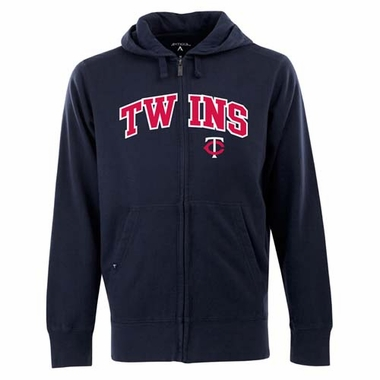 Minnesota Twins Mens Applique Full Zip Hooded Sweatshirt (Team Color: Navy)