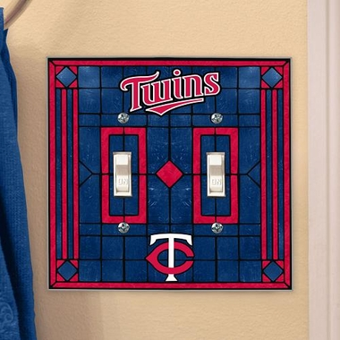 Minnesota Twins Art Glass Lightswitch Cover (Double)