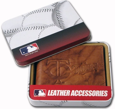 Minnesota Twins Embossed Leather Bifold Wallet