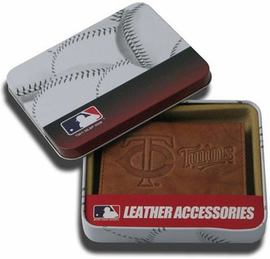 Minnesota Twins Embossed Leather Trifold Wallet