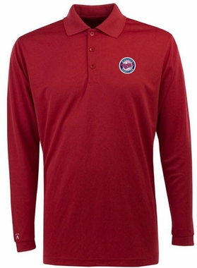 Minnesota Twins Mens Long Sleeve Polo Shirt (Team Color: Red)