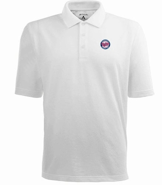 Minnesota Twins Mens Pique Xtra Lite Polo Shirt (Color: White)