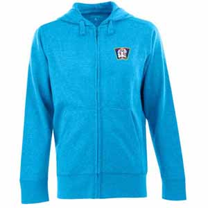 Minnesota Twins Mens Signature Full Zip Hooded Sweatshirt (Cooperstown) (Team Color: Aqua) - Small