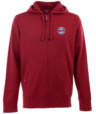 Minnesota Twins Mens Signature Full Zip Hooded Sweatshirt (Color: Red)