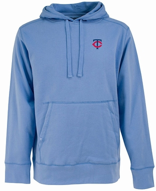 Minnesota Twins Mens Signature Hooded Sweatshirt (Cooperstown) (Team Color: Aqua)