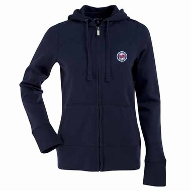 Minnesota Twins Womens Zip Front Hoody Sweatshirt (Alternate Color: Navy)