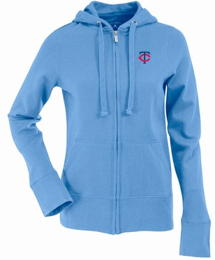 Minnesota Twins Womens Zip Front Hoody Sweatshirt (Cooperstown) (Team Color: Aqua)