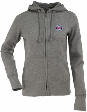 Minnesota Twins Womens Zip Front Hoody Sweatshirt (Color: Gray)