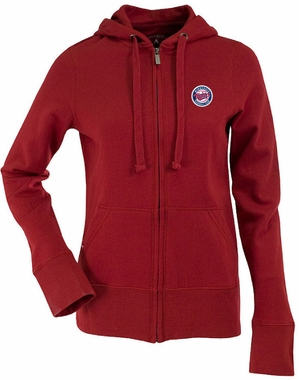 Minnesota Twins Womens Zip Front Hoody Sweatshirt (Team Color: Red)